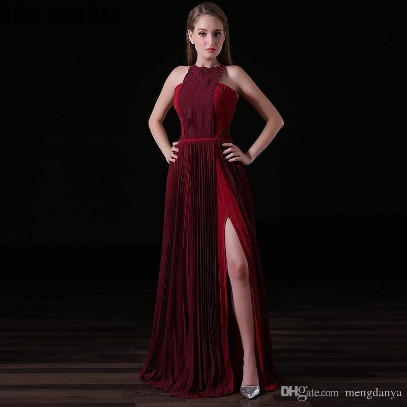 680040c20 Compre 2019 Borgoña Gasa Vestidos Largos De Noche Halter Moda Mujeres  Vestido Formal Crepe Sexy Partido De Noche De Hendidura Vestidos De Baile A   80.41 Del ...