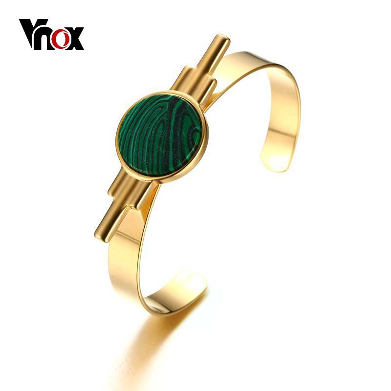 Vnox Stylish Green Natural Stone Women Bracelets & Bangles Stainless Steel Women Cuff Bracelet Daily Jewelry Gold-color