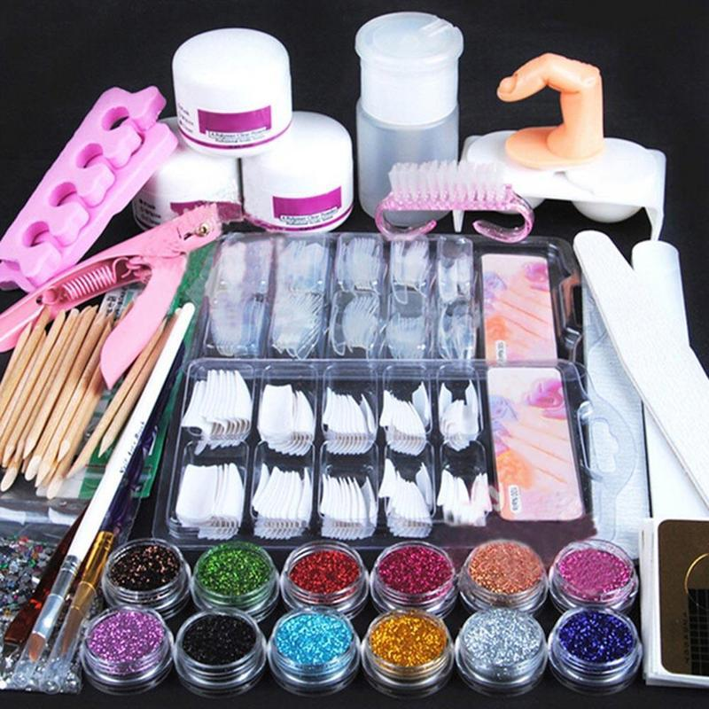Nail Art For Beginners Without Tools: Acrylic Nail Art Manicure Kit Nail Glitter Powder