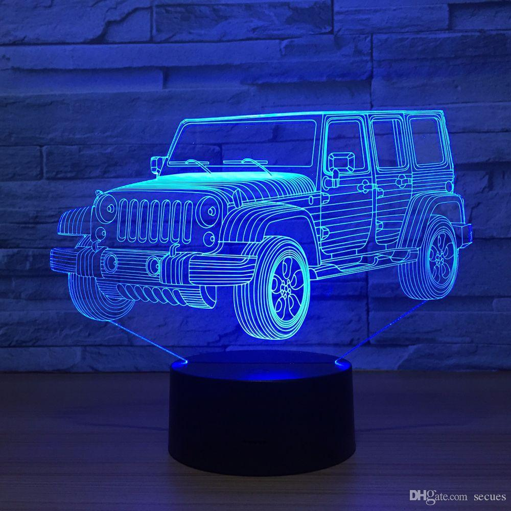 Jeep 3D Optical Illusion Lamp Night Light DC 5V USB Powered 5th Battery Wholesale Dropshipping Free Shippin