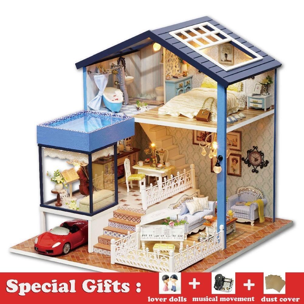 Diy Miniature Wooden Dollhouse Seattle Villa Cute Room With Dust