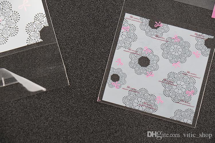 Sacchetti di imballaggio autoadesivi Sacchetti di biscotto di plastica svegli Imballaggio Stile matrimonio Fiore Spuntini Sacchetto di immagazzinaggio sacchetti di campionamento Sacchetto di caramelle di fascia alta PB05