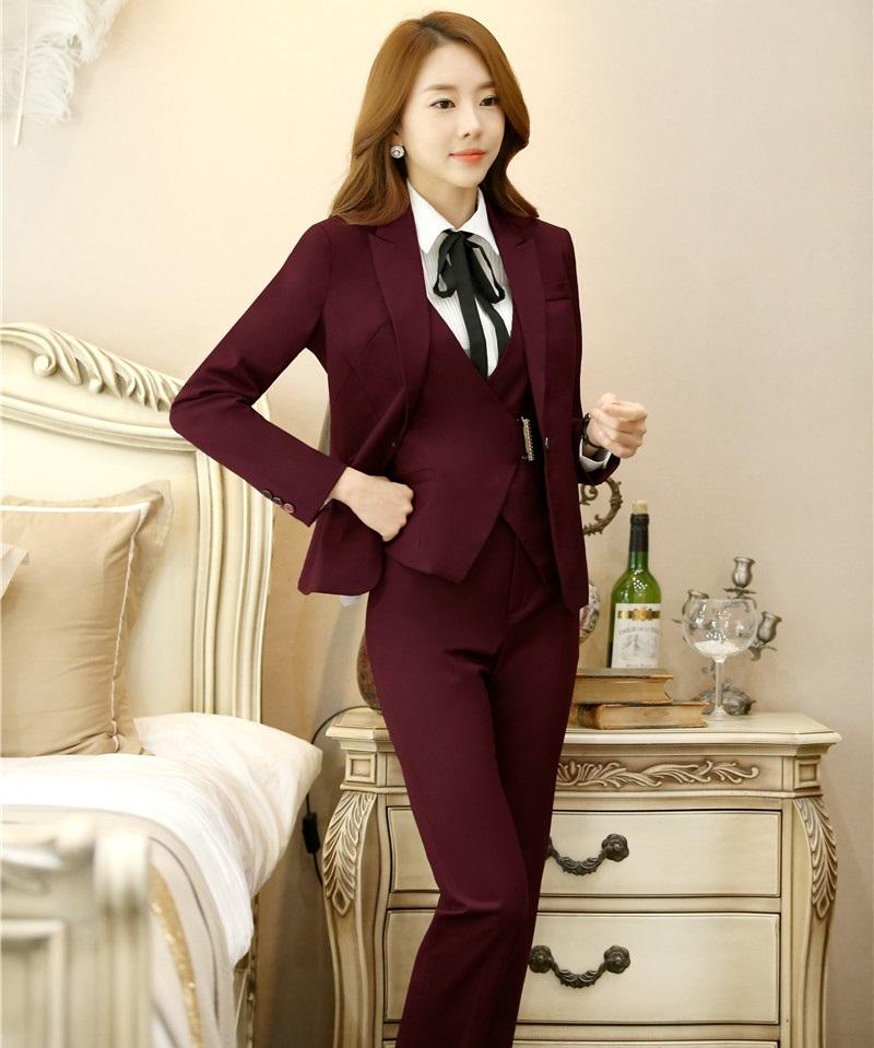 0d556374a7292 Plus Size 4XL 2016 Autumn Winter Professional Formal Pantsuits Ladies  Business Women Suits 3 pieces With Jackets + Pants + Vest
