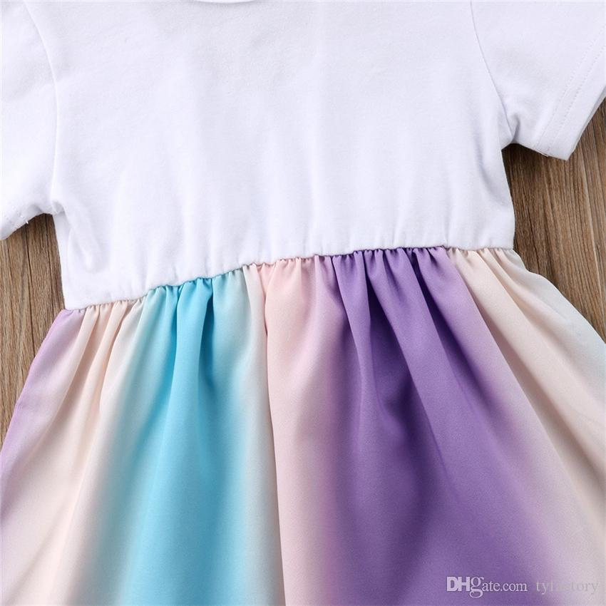 Newborn baby girl rainbow dress bowknot TuTu dresses with headband set outfit princess dress costumes baby girls clothes kid clothing