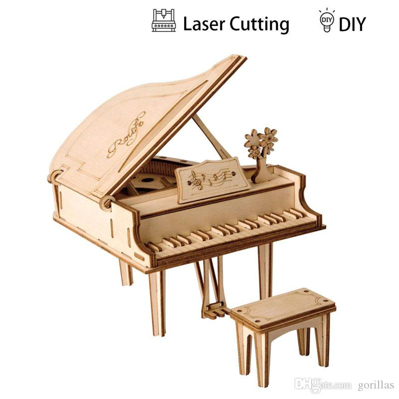 3D Wooden Puzzle Grand Piano Model Kits Laser Cut DIY Arts & Crafts Great Gift Toys for Boys Girls and Adults