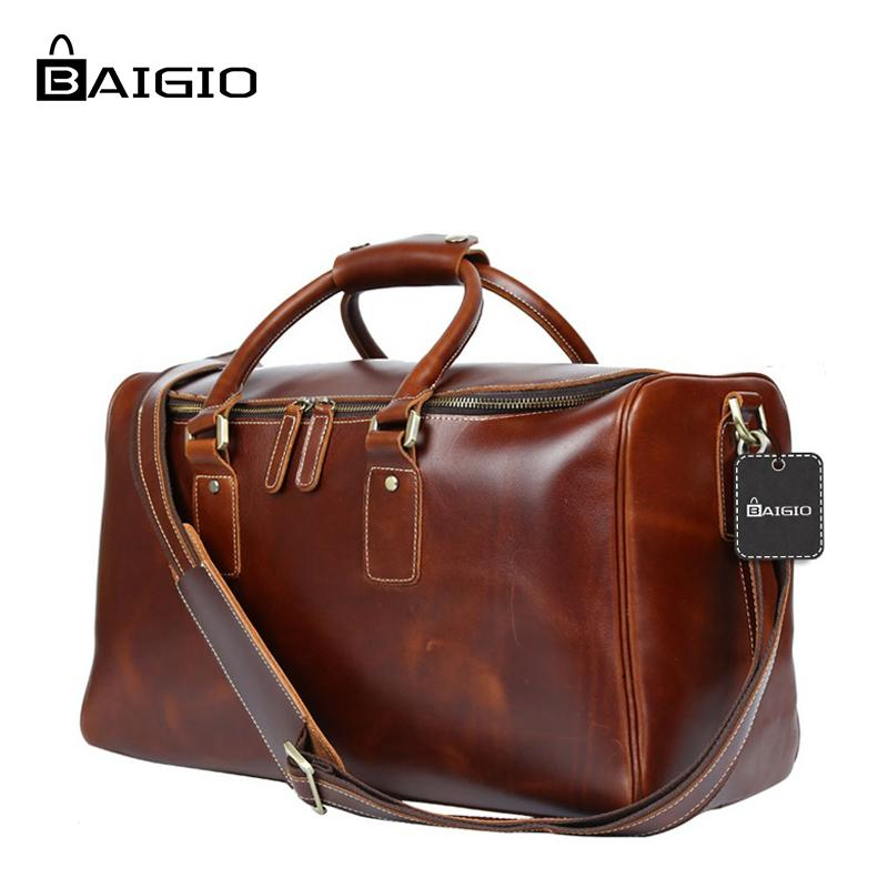 6ad5fec48d50 Baigio Men Travel Bags Leather Genuine Leather Travel Luggage Bag Handbag  For Men Tote Crossbody Duffle Bag Cow Leather Suitcases Kid Suitcase From  Mkfobia