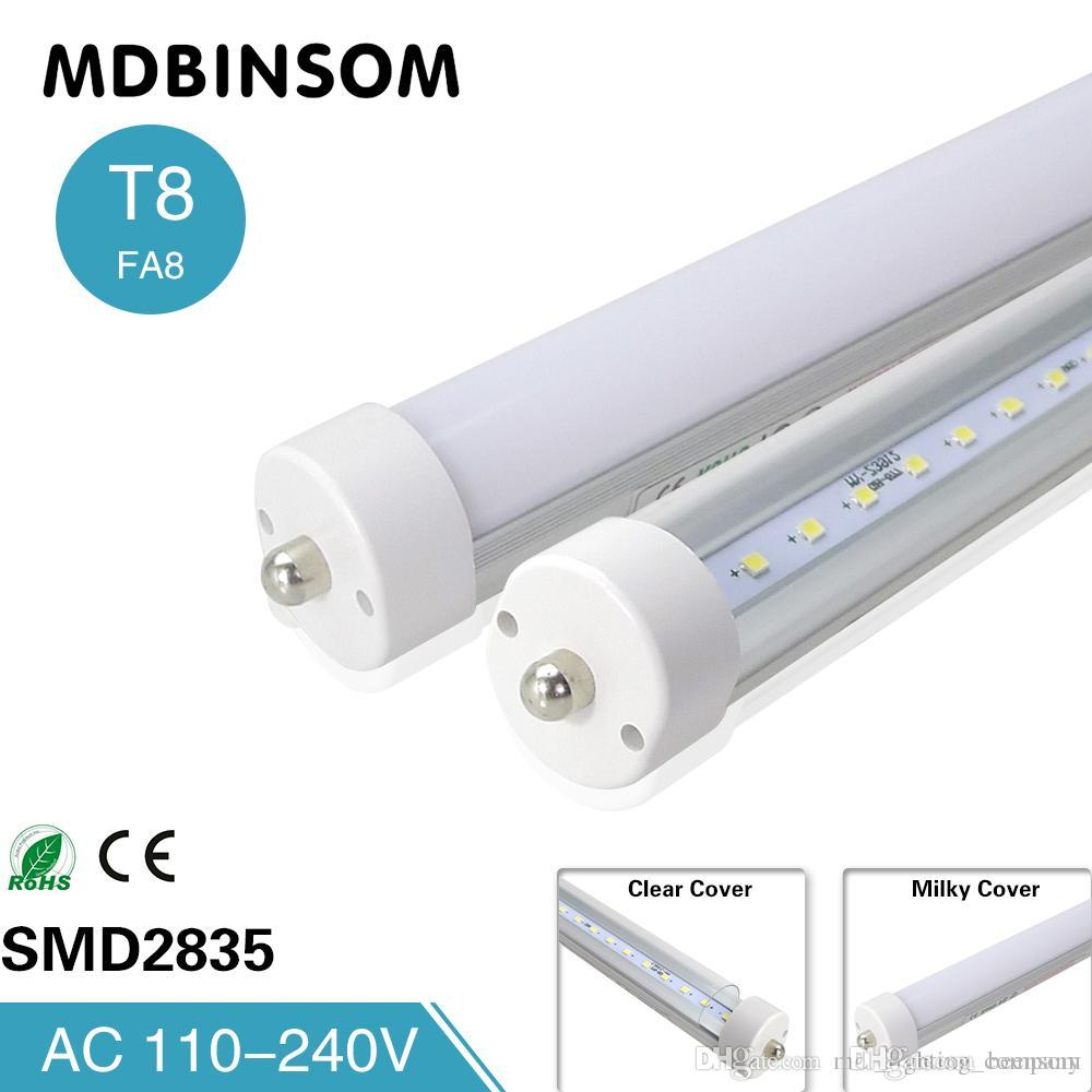 Stock In T8 Fa8 Single Pin Led Tube Lights 8 Feet 8ft Wiring Diagram For Fluorescent Lighting Light 45w 4800lm Lamps 24m 85 265v Circuit