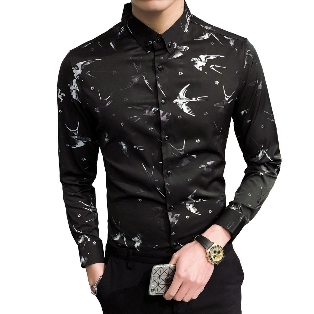8561ab7e7e Compre 2018 Moda Estampado De Flores Para Hombre Camisas Camisa Clásica De Manga  Larga Para Hombre Slim Fit Camisa De Vestir De Negocios Social Masculina A  ...