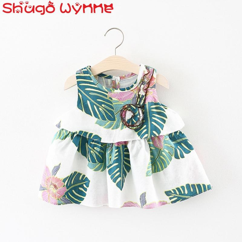 00a3c603e1f5 2019 Vestidos Summer Infant Girls Leaf Floral Print Sleeveless Tutu Pleated  Cute Sundress Princess Party Cute Baby Kids Dress From Paradise13, ...