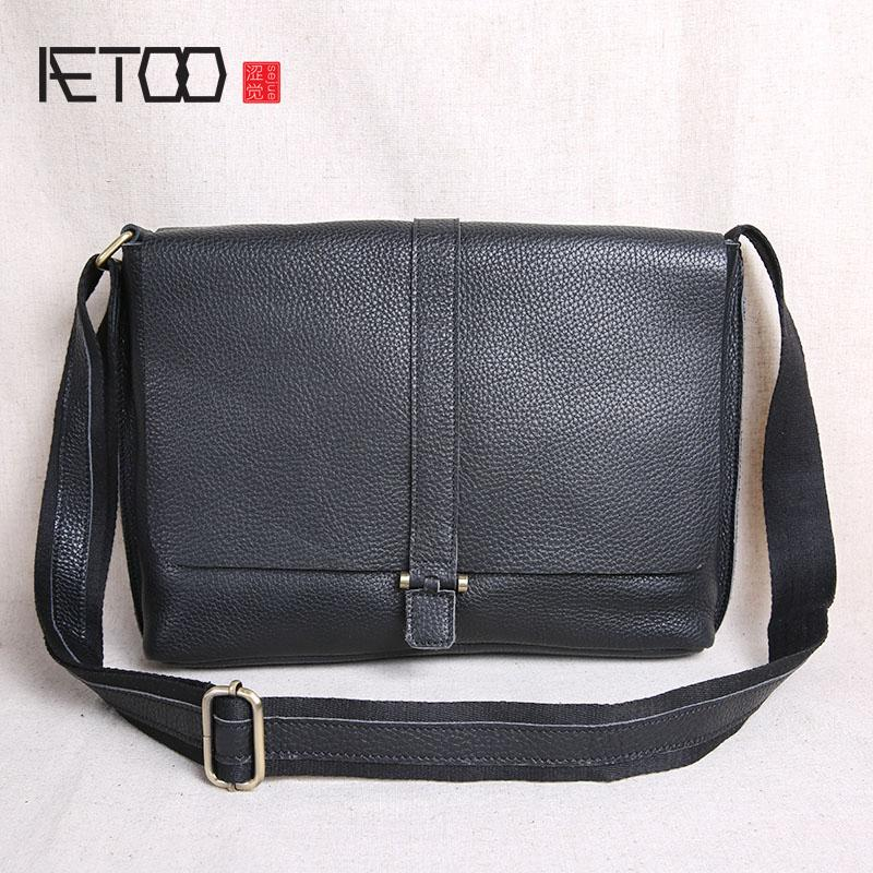 74b73d0490b AETOO Shoulder Bag Men S Messenger Bag Casual Leather Men S New Flip Tide  Tide Layer Cowhide Backpack Cross Section Leather Backpack Purse Handbags  For Sale ...