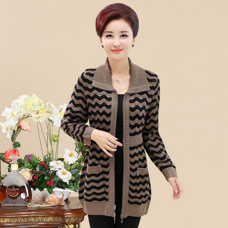 f01f3b07bf221 2019 Sexemara Zip Cardigan Sweater Middle Age Mother Knitted Wave Stripe  Wool Jumper 2018 Fall Winter Big Size Women Knitwear Coat Y18110601 From  Zhengrui01 ...