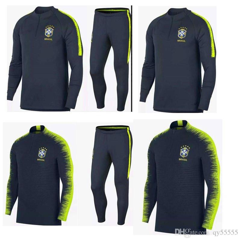 2019 Brazil Long Sleeves Training Suit Soccer Jersey 2018 Suits Sleeve  Pants Football Kits Survetement Football Shirt From Qy55555 b522813a6