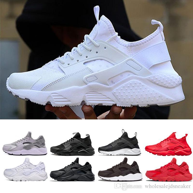 detailed look 3e949 cd669 Acheter 2018 Nike Air Huarache Chaussures De Course Triple Blanc Noir  Huraches Baskets De Course À Pied Pour Femmes Hommes Chaussures De Sport  Huaraches ...