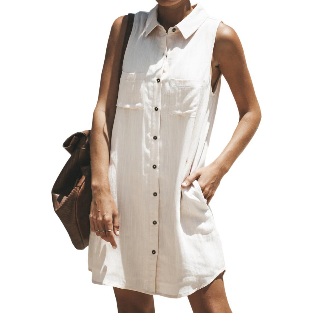 8ba4450765b35 Women Shirt Dress Femme Sleeveless Turn Down Collar Pockets Dresses Girl  Summer Straight Loose Casual Plus Size Sundress GV794 White Prom Dress Girl  Dress ...