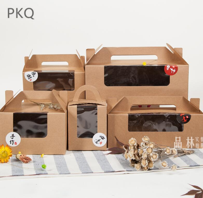 10pcs Kraft paper Cookie cake Packaging Box with pvc window Candy Biscuit Chocolate Paper Carton cardboard gift box with handle