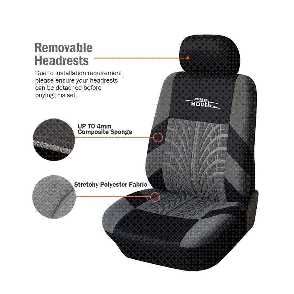 AUTOYOUTH 3 Colour Track Detail Style Car Seat Covers Set Polyester Fabric Universal Fits Most Cars Protector Best Baby