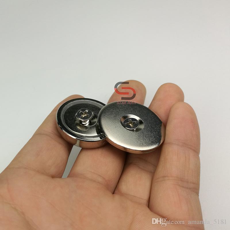4PK 90LB Neodym Countsunk Cup Magnet D32mm mit Schlagplatte und Schrauben  Magnetverschluss Kit Schranktür Holz Möbelschloss