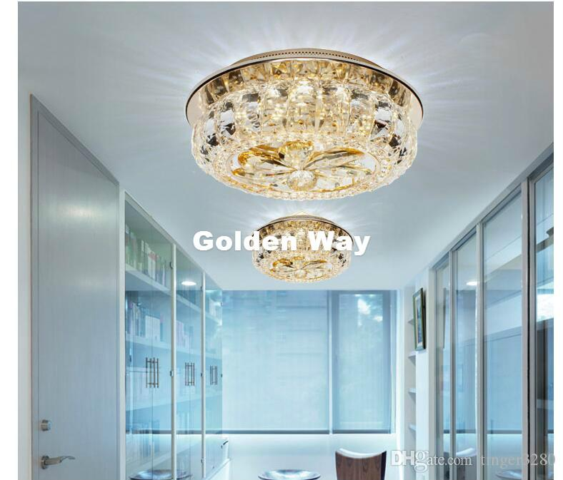 Celling Lamps Champagne Colors LED Crystal Ceiling Lamp D25cm Modern Design Rhinestone Lighting Home Decoration Lamps