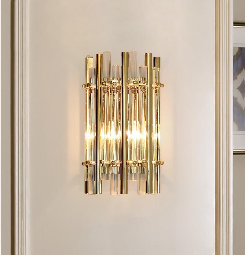 Estar Moderna Dormitorio Cristal Lámpara De Simple Creativa Lujo La Personalidad Decoración Luz Pared Sala PZukiOX