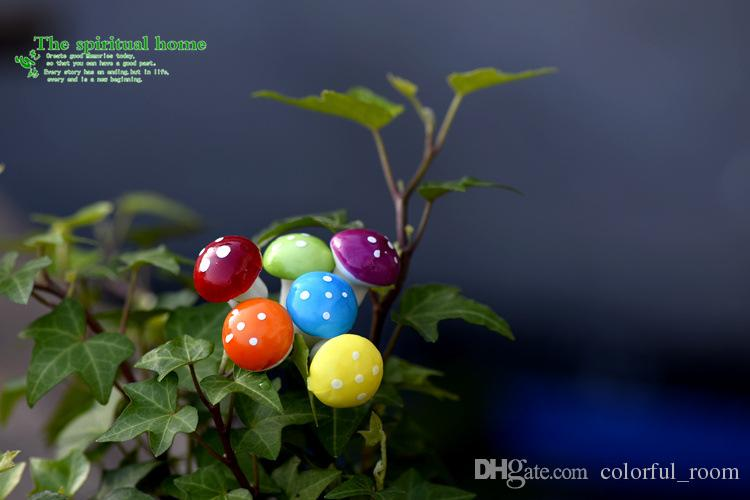 artificial colorful mini Mushroom fairy garden miniatures gnome moss terrarium decor resin crafts bonsai home decor for DIY Zakka
