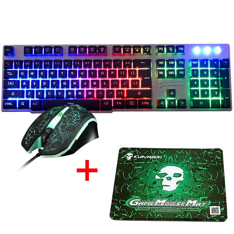 92c6b7942a0 T16 Wired Rainbow LED Backlit Usb Ergonomic Gaming Keyboard Mouse Combo  illuminated + 2400DPI PC Optical Gamer Mouse + Pad