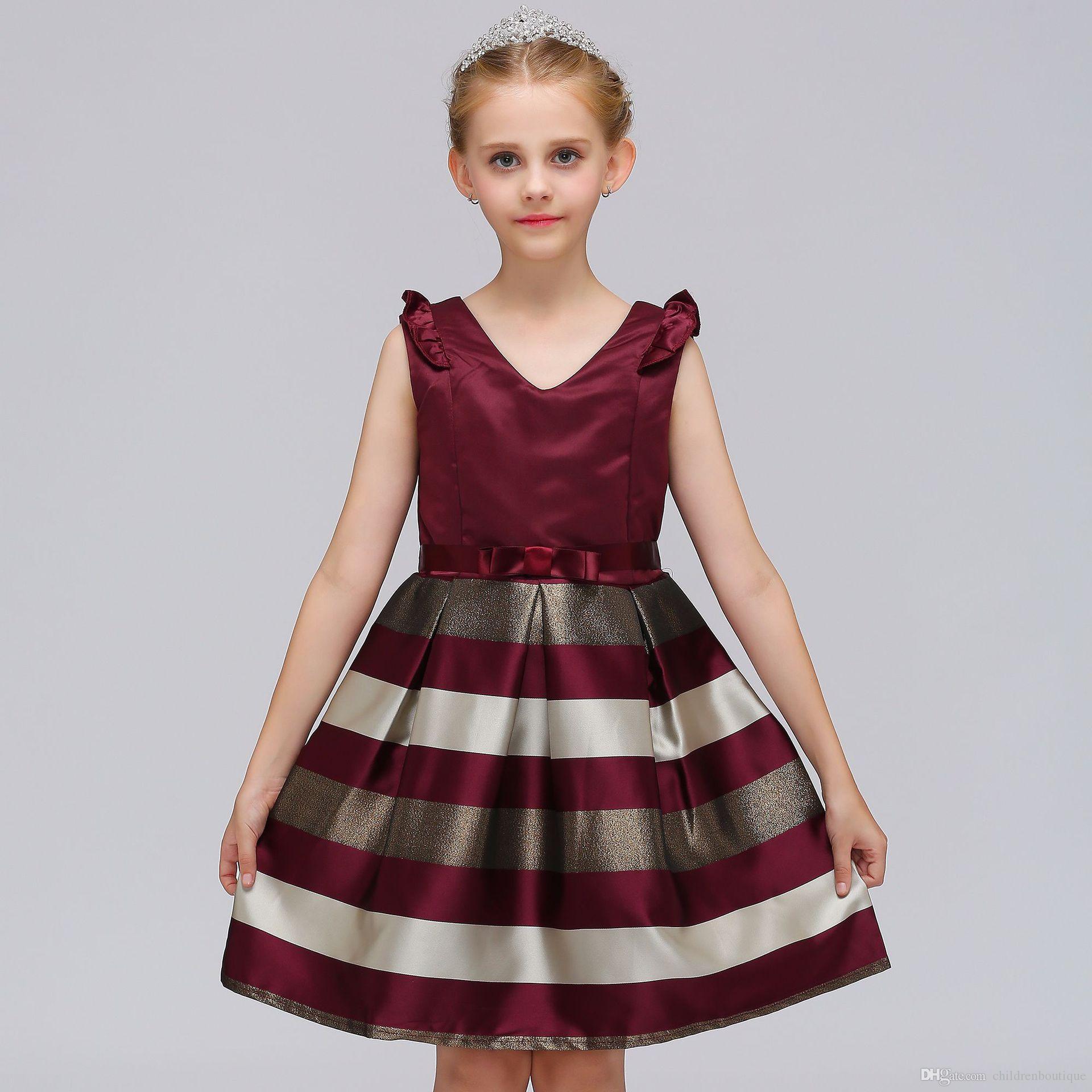 842e44ebb61 Acheter Enfants Filles Vêtements Bébé Filles Rayé Robe Pour Filles Robes De  Fête De Mariage Formelles Enfants Princesse Robe De Noël Costume 3 Couleurs  De ...