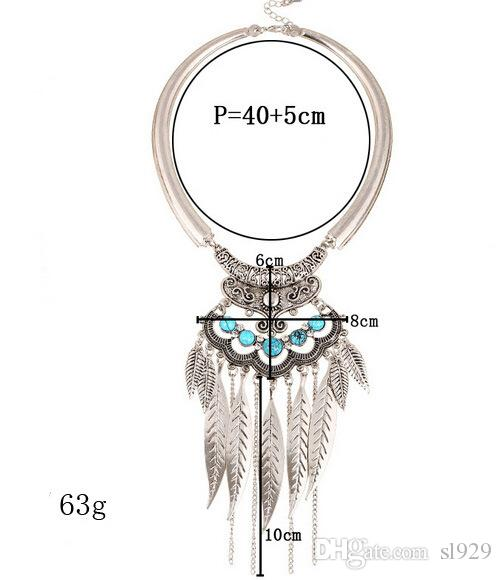 Europe And The United States Exaggerated Retro Leaf Tassel Metal Necklace Fashion Wild Clavicle Chain Collar Women Factory Wholesale