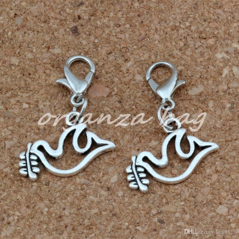 lega di pace colomba colomba olive galleggiante aragosta stringili pendenti di fascino gioielli che fanno braccialetto collana accessori fai da te 0x26mm A-259b