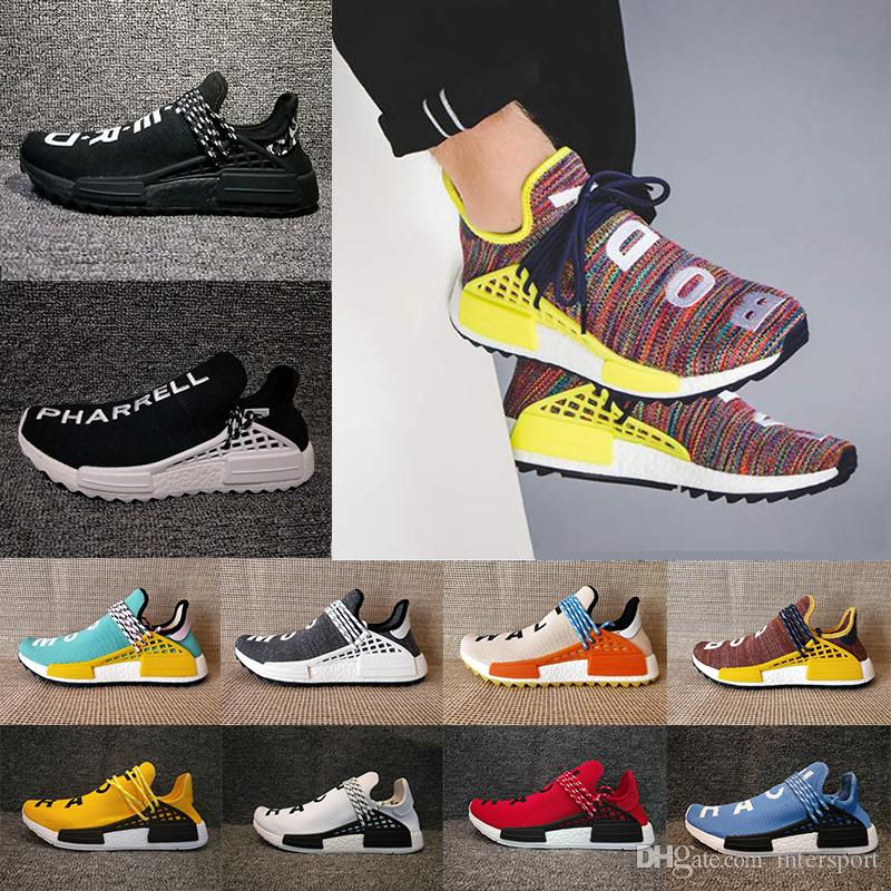 cheap for discount 3a40c cbc4e 2018 Human Race Pharrell Williams Hu trail NERD Men Womens Running Shoes  noble ink core Black Red sports Shoes eur 36-47