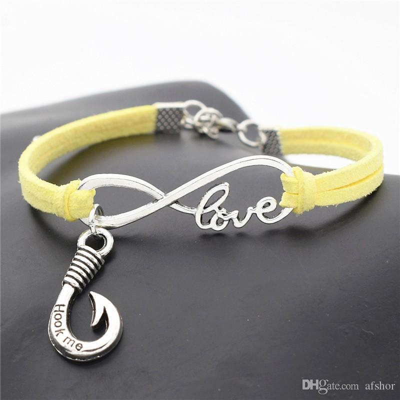 """AFSHOR New 2018 Stylish Fishing Lover Gifts Punk Antique Silver Fishhook Charms """"Hook Me"""" Words Pendant Infinity Love Leather Bracelets"""