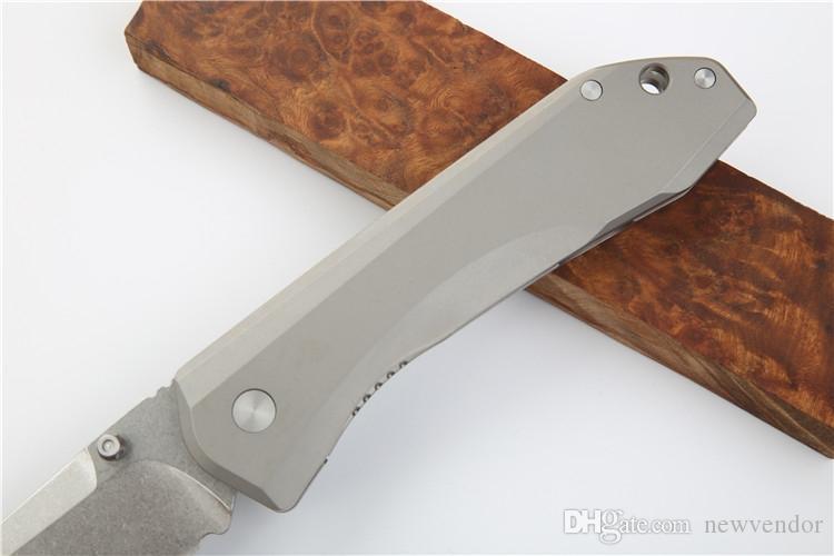 High End 761 Pocket Folding Knife S35VN Stone Wash Blade TC4 Titanium Alloy Handle Ball Bearking Knives