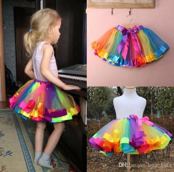 4d0588413a03 2019 New Summer Kid Girls Skirt Rainbow Color Tutu Dresses Newborn ...
