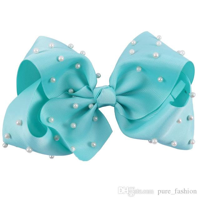 /7'' Large Solid Grosgrain Ribbon Hair Bows with White Pearl Chic Hair Clips For Girls Princess Dance Party Hair Accessories