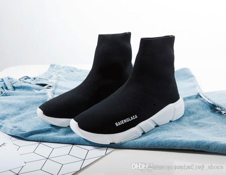 BalenciAga Brand Red Yellow Speed Trainer Casual Shoe Man Woman Sock Boots  With Box Stretch Knit Casual Boots Race Runner Cheap Office Shoes Running  Shoes ... 713c20231f