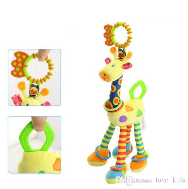 sound cute developmental infant baby birthday gift stuffed plush hand bell ring rattle bed hanging toy giraffe