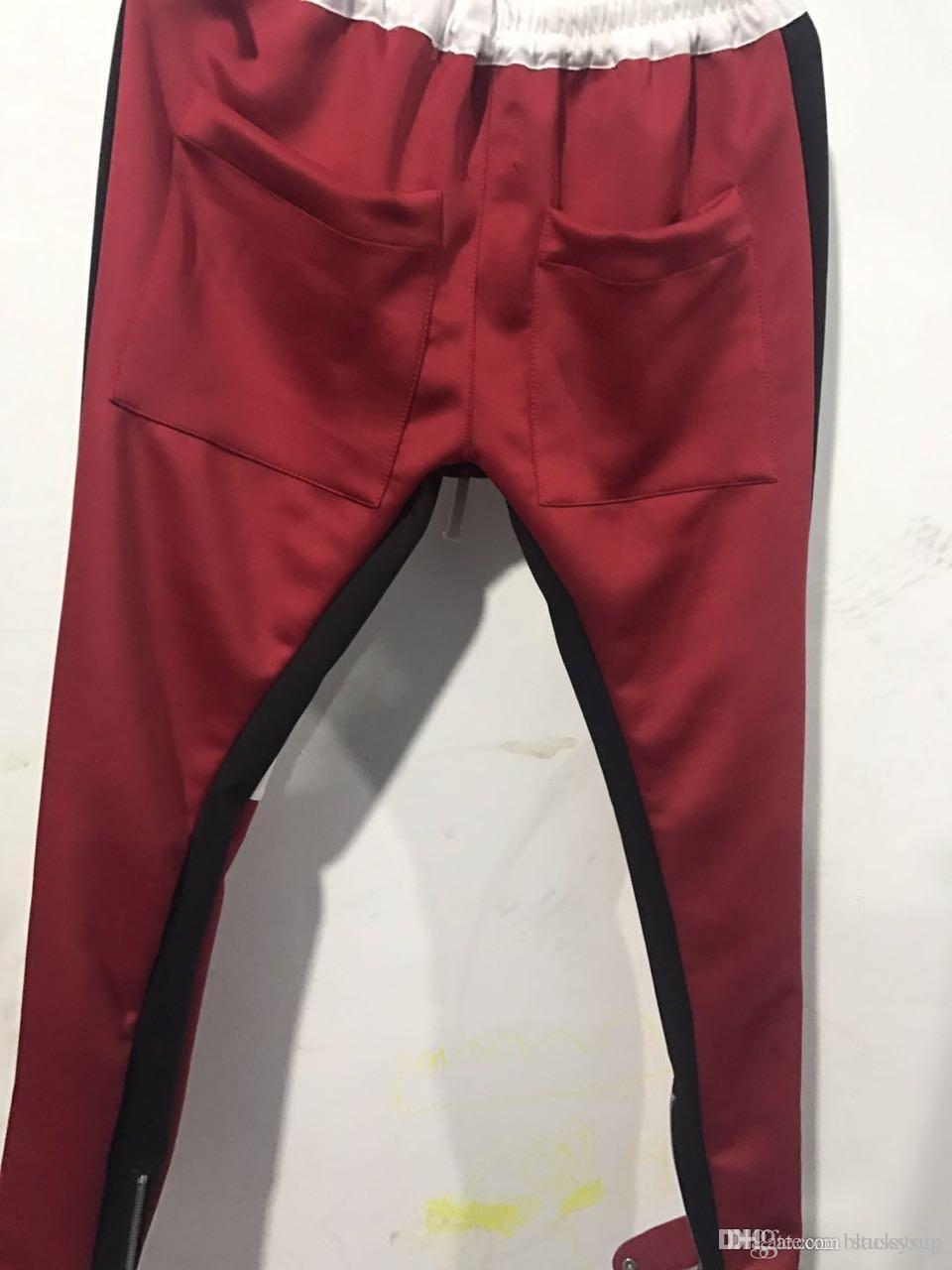 c8dfdf0fd6c9e New Zipper Pants Hip hop Fashion Jogger Urban Clothing Red Bottoms kanye  FOG jogger justin Bieber Pants Free Shipping