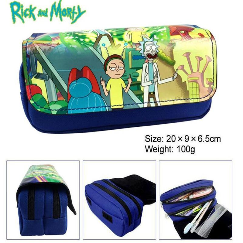 TV Rick And Morty Pickle Rick Mr. Meeseeks Cartoon Student Pencil Bag  Office Multipurpose Double Zipper Pen Pouch Make Up Bags Makeup Brushes  Designer ... 8e679cad7655d