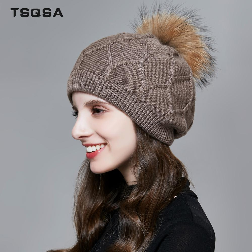 c1afbd514d3 TSQSA Real Fox Fur Pompoms Women Hat Natural Fur Pompon Ball Female Wool  Knitted Beanies Warm Autumn Winter Ladies Cap TAH1712 D18110102 Baby Hats  Fitted ...