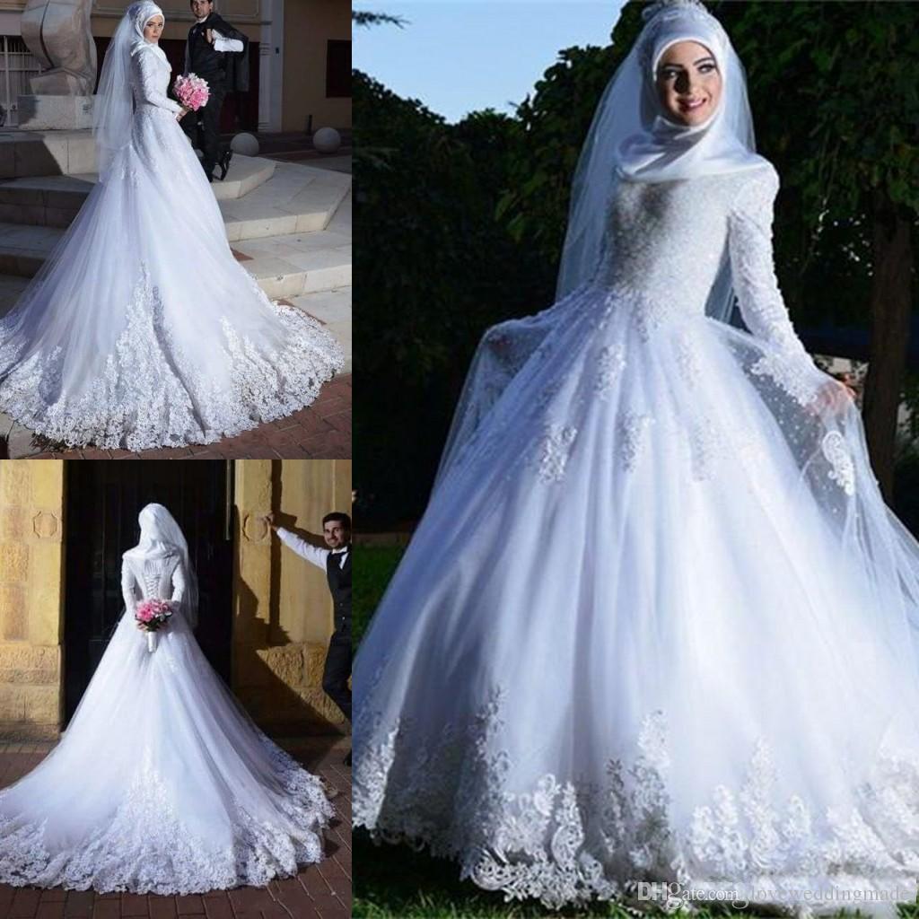 c1d7e57a591 Discount 2018 Muslim Long Sleeves Formal Wedding Dresses Lace Applique A Line  Bridal Gowns Sheer Tulle Corset Vestido De Noiva Wedding Designers Wedding  ...