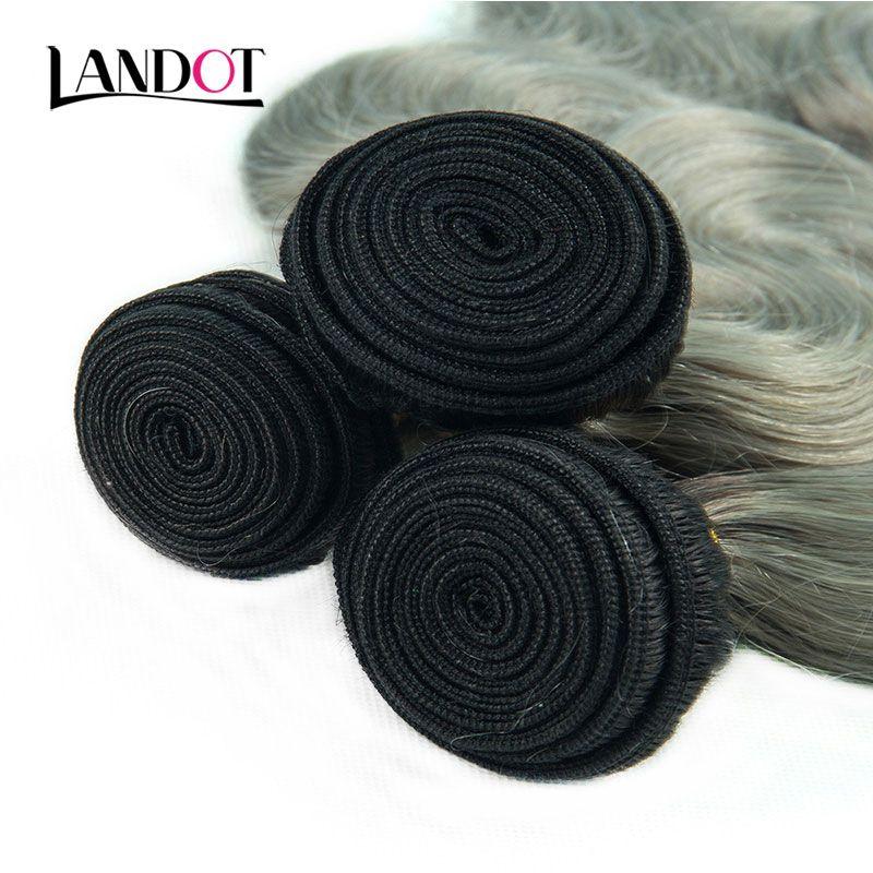 9A El cabello virgen recto brasileño gris Ombre teje 3 paquetes con cierres frontales de encaje Ombre 1B / Cabello humano indio peruano malayo gris