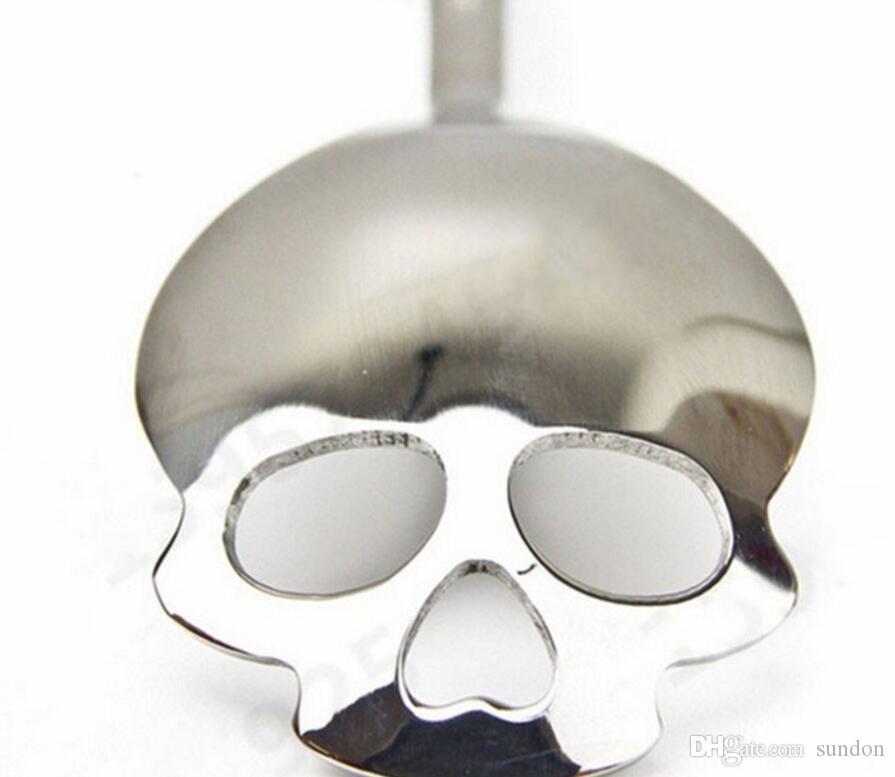 Cucchiaio argentato Testa di cranio Cucchiaio in acciaio inossidabile Set adulti Cucchiaio cucchiaio Cucchiaio di metallo cucchiaio Scoop Creativo 4 6rx B