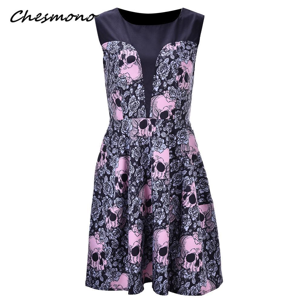2019 Women Plus Size Patchwork Rose Skull Print Dress Sleeveless Elegant Sexy  Female Pin Up Party Swing Vestidos Dropship Dresses From Insideseam 69e8edc24d60