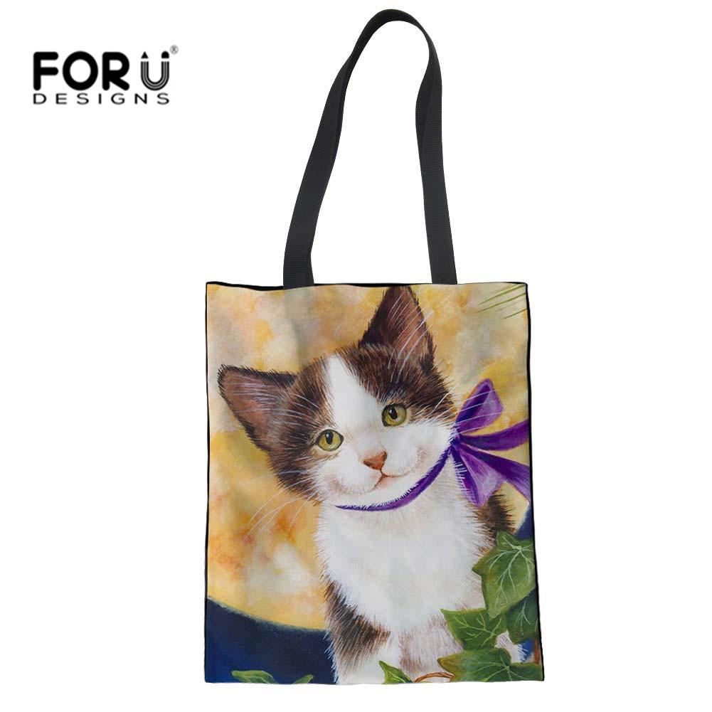 FORUDESIGNS Kawaii Cat Luxury Handbags Women Messenger Bags Cute Buerfly  Print Women S Cloth Tote Bags Recycle Shopper Ladies Bags Leather Purses  From ... c0983e15d