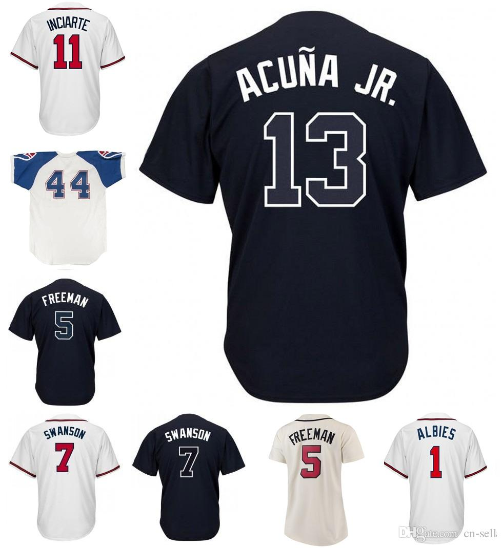 13 Ronald Acuna Jr. 1 Ozzie Albies 5 Freddie Freeman 7 Dansby Swanson Ender  Inciarte Retro Vintage Pullover Baseball Jerseys Men Women Youth Baseball  ... 14ea0d11b