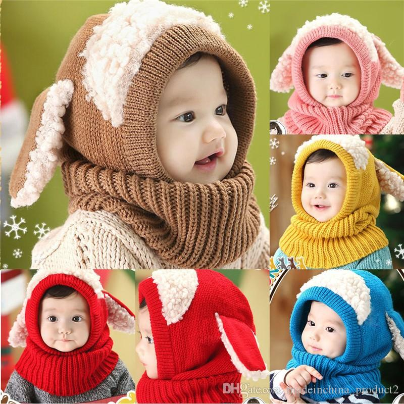 d47b6f62f057 2019 Baby Hand Knitted Hat With Scarf Children Lovely Dog Design ...