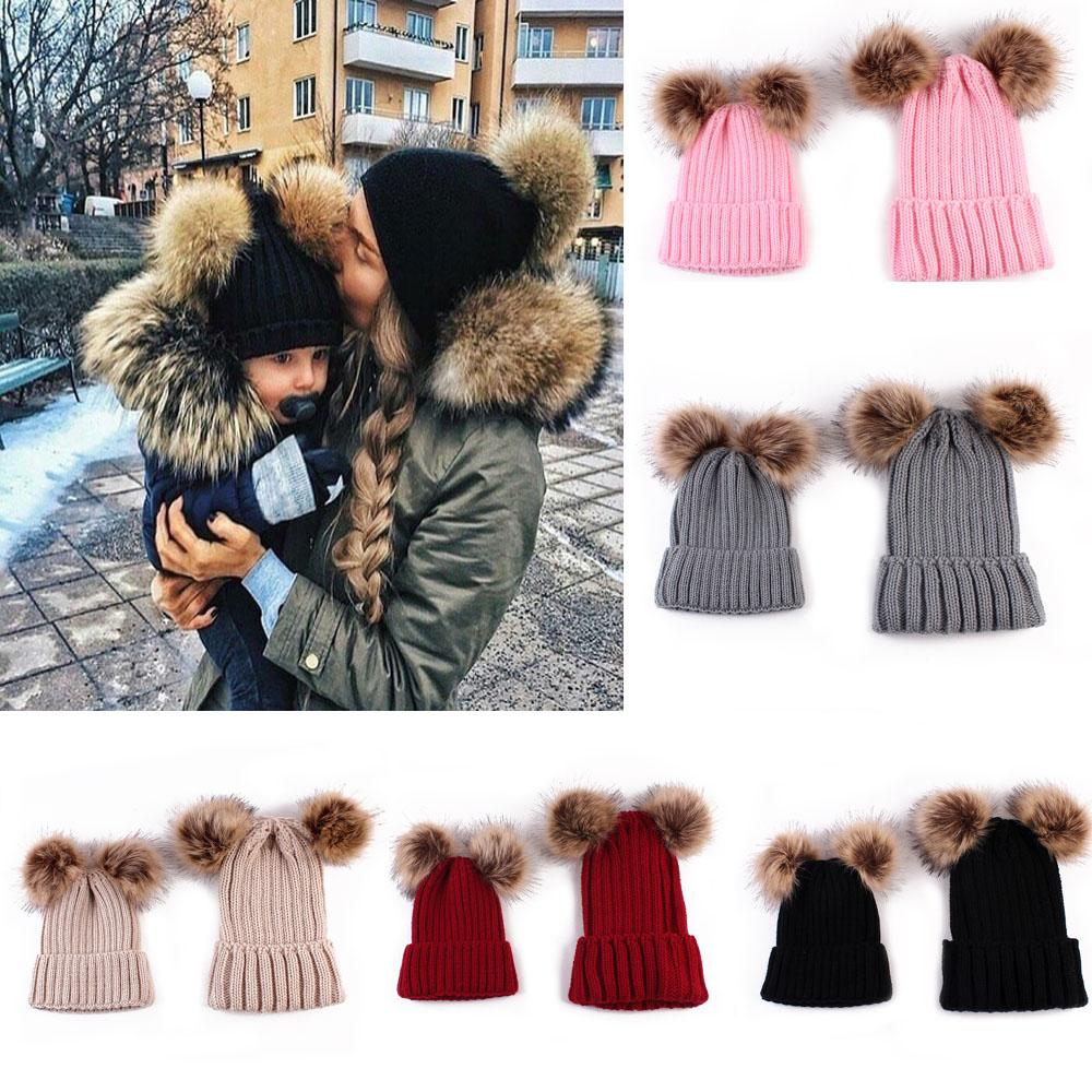 Apparel Accessories New Cute Mom And Baby Knitting Keep Warm Hat Family Matching Woman Winter Hat Newborn Baby Bonnet Gorros Hats