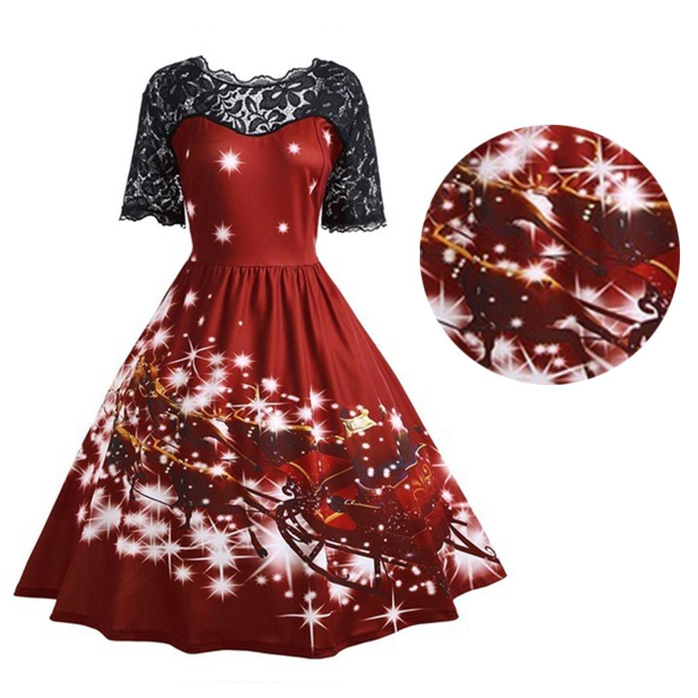 womens christmas party vintage dress santa claus deer print dress clothes and dresses dresses s from sophiey 3116 dhgatecom