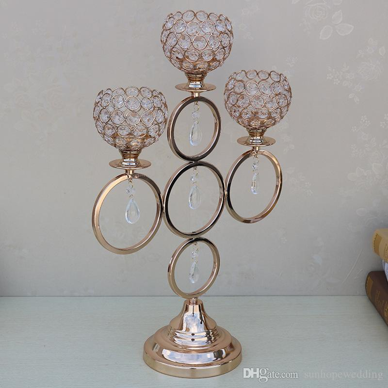 new style Unique fasional candle holder /glass golden wedding vase for flower arrangement