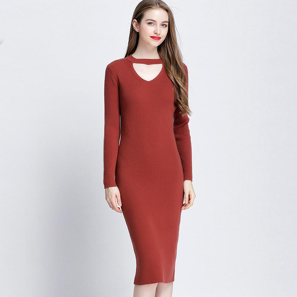 19eabbc1de0 ... New Women Knit Dress Runway Sweater Dress Slim Ribbed Stretchy Hollow  Out Long Bodycon Brief Dress Beige Black Vestidos Yellow Maxi Dress With  Sleeves ...