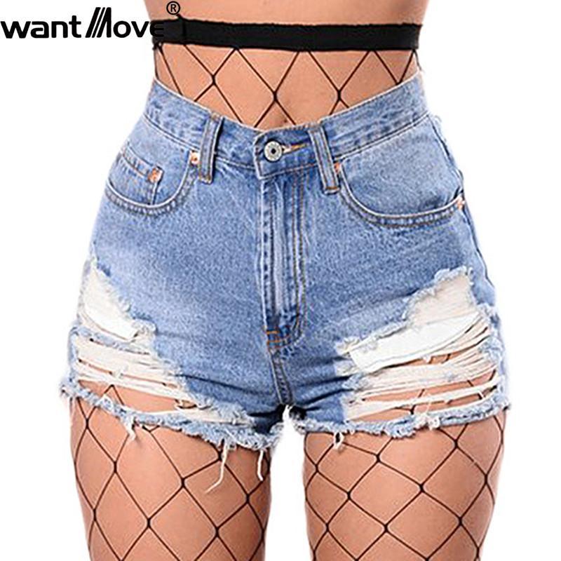 Compre Wantmove 2018 Mulheres Verão De Cintura Alta Shorts Jeans Sexy  Rasgado Oco Out Back 2 Pockets New Shorts Curtos Casuais Para As Mulheres  WM056 De ... d8f52e47059b0